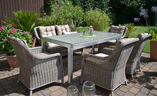 Bomey Gartenmöbel Set Tisch Bank Und 4 Sessel Rattan Polyrattan