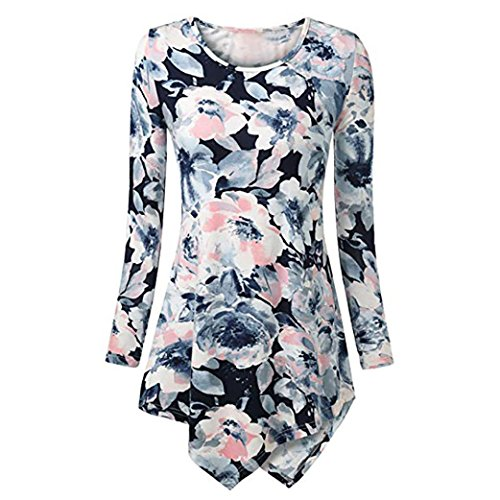 Asymmetrical T Shirt,Gillberry Womens Long Sleeve Roundneck Floral Tunic Tops Tie Dyed Hemline Blouse (White, S) -