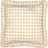 VHC Brands Farmhouse Classic Country Bedding Annie Buffalo Check Fabric Euro Sham, Tan