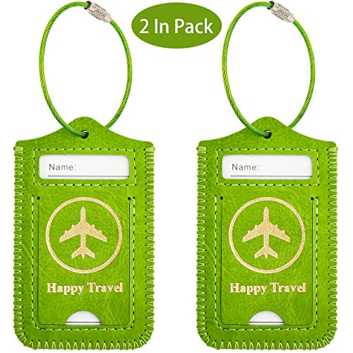 WALNEW Luggage Tag- Initial Bag Tag with Stainless Steel Loop Suitcase Label...