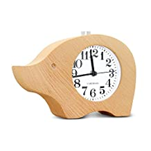 BELK Quite Sleep Silent Alarm Clock Nature Wood Non Ticking Sweep Bedside Morning Clock with Large Display and Snooze Night Light Feature, Battery Operated (Not Included)