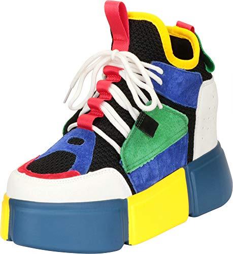 - Cambridge Select Women's 90s Rave Hidden Wedge Extra High Chunky Platform Fashion Sneaker,8 B(M) US,Multi