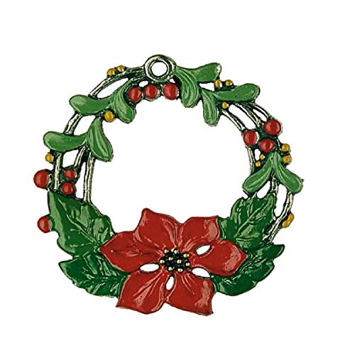 Pinnacle Peak Trading Company Poinsettia Christmas Star Wreath German Pewter Ornament Flower Decoration New