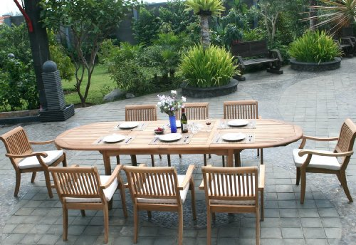 9 Pc Grade-A Teak Wood Dining Set - Large 117