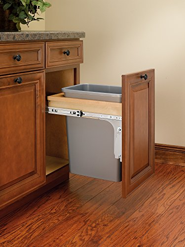 Rev-A-Shelf - 4WCTM-1516DM-1 - Single 35 Qt. Pull-Out Top Mount Wood and Silver Waste Container for 12 in. W x 18 in. D 1-1/2 in. Face Frame Cabinet