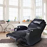 Massage Recliner Chair, 360 Degree Swivel and Heated Recliner Bonded Leather Sofa Chair with 8 Vibration Motors,Black