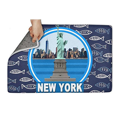 """HCddakse Outside Welcome Doormat 23.5""""x15.5"""" Rectangular Non Slip Absorbent Easy Clean Statue of Liberty in New York Modern Decorative Dining Personalized Carpets"""