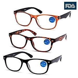 Surprising good quality & Design! Viscare® 3 Pack Men Women Unisex Wayfarer Designer Reading Glasses Readers w Spring Hinges free Hard Case N Cloth +2.00 +200