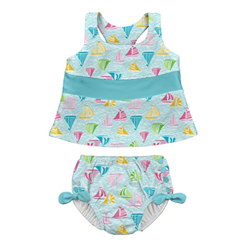 i play. Toddler Girls' Two-Piece Bow Tankini with Snap Reusable Swimsuit Diaper, Light Aqua Sailboat Sea, 4T