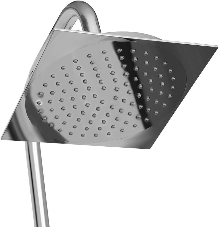 colonne de douche chrom/ée /à montage mural avec hauteur r/églable Hengda Syst/ème de douche pluie Mitigeur avec douche de t/ête carr/ée de 20cm et t/ête de douche /à main de 12cm et barre coulissante