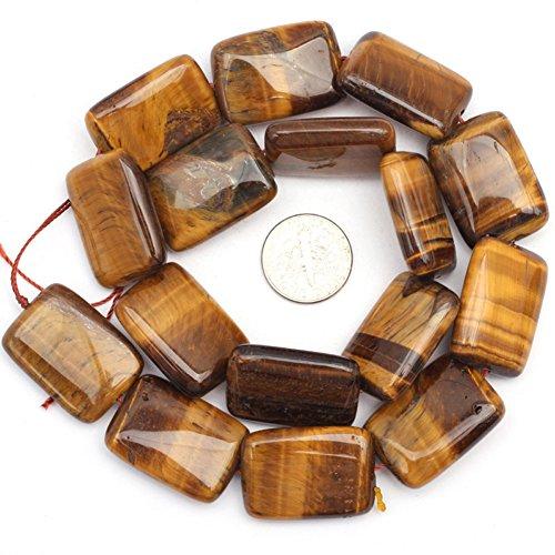 JOE FOREMAN 18x26mm Tiger Eye Semi Precious Gemstone Rectangle Loose Beads for Jewelry Making DIY Handmade Craft Supplies - Pendant Eye Tiger Rectangle