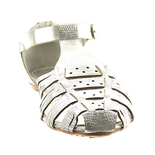 Sopily - Scarpe da Moda sandali gladiatore cinturino alla caviglia donna tanga lucide Tacco a blocco 1 CM - Argento
