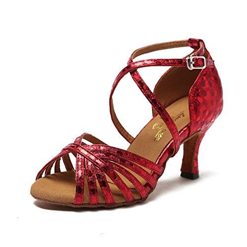CRC Womens Stylish Peep Toe PU Leather Ballroom Morden Salsa Latin Tango Party Wedding Professional Dance Sandals Red m0FuP69L