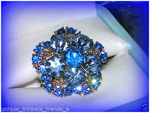 VINTAGE STYLE SAPPHIRE BLUE CRYSTAL SILVER FLOWER GIFT RING~ADJUSTABLE SZ 7/8/9 Employee of the Month