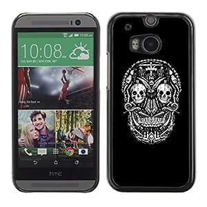 GOODTHINGS ( NO PARA HTC ONE MINI 2) Funda Imagen Diseño Carcasa Tapa Trasera Negro Cover Skin Case para HTC One M8 - cráneo negro muerte cruz de metal de la roca