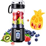 Supkitdin Portable Blender, Personal Mixer Fruit Rechargeable with USB, Mini Blender for Smoothie, Fruit Juice, Milk Shakes, 380ml, Six 3D Blades for Great Mixing (Black) (Color: Black, Tamaño: 9.12x3.25x3.25 inch)