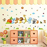 Cartoon little animals pull radish wall sticker kid's room kindergarten bedroom wall stickers decoration