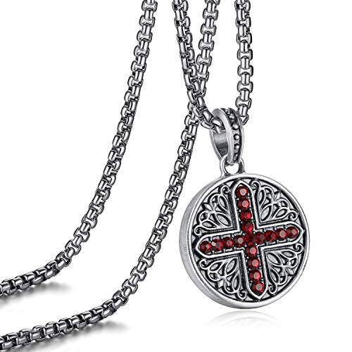 EVBEA Necklace for Men Circle Red Ruby Crystal Viking Celtic Vintage Pendant Serenity Prayer Jewelry with Stainless Steel Chain