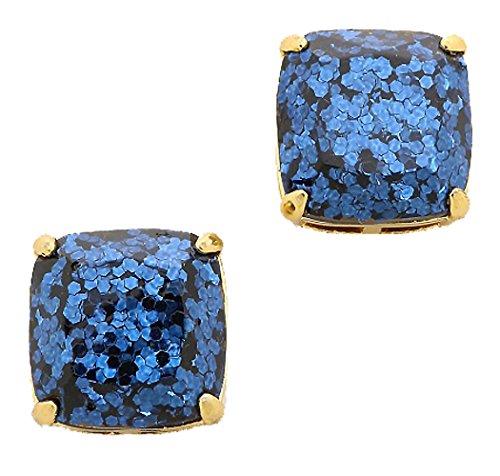 7b9869446c9f6 kate spade New York Small Square Navy Blue Glitter Stud Earrings 12k ...