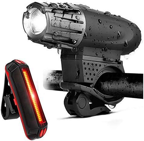 自転車ライトUSB充電ヘッドライトテールライトマウンテンバイク警告灯300ルーメンヘッドライト