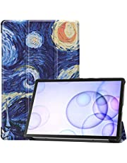 Guteck Case Fits Samsung Galaxy Tab S6 10.5 2019 - Tri-Fold Ultra Lightweight Standing Protective Smart Cover with Auto Wake/Sleep compatible for T860/T865 2019 Tablet (Starry Night)