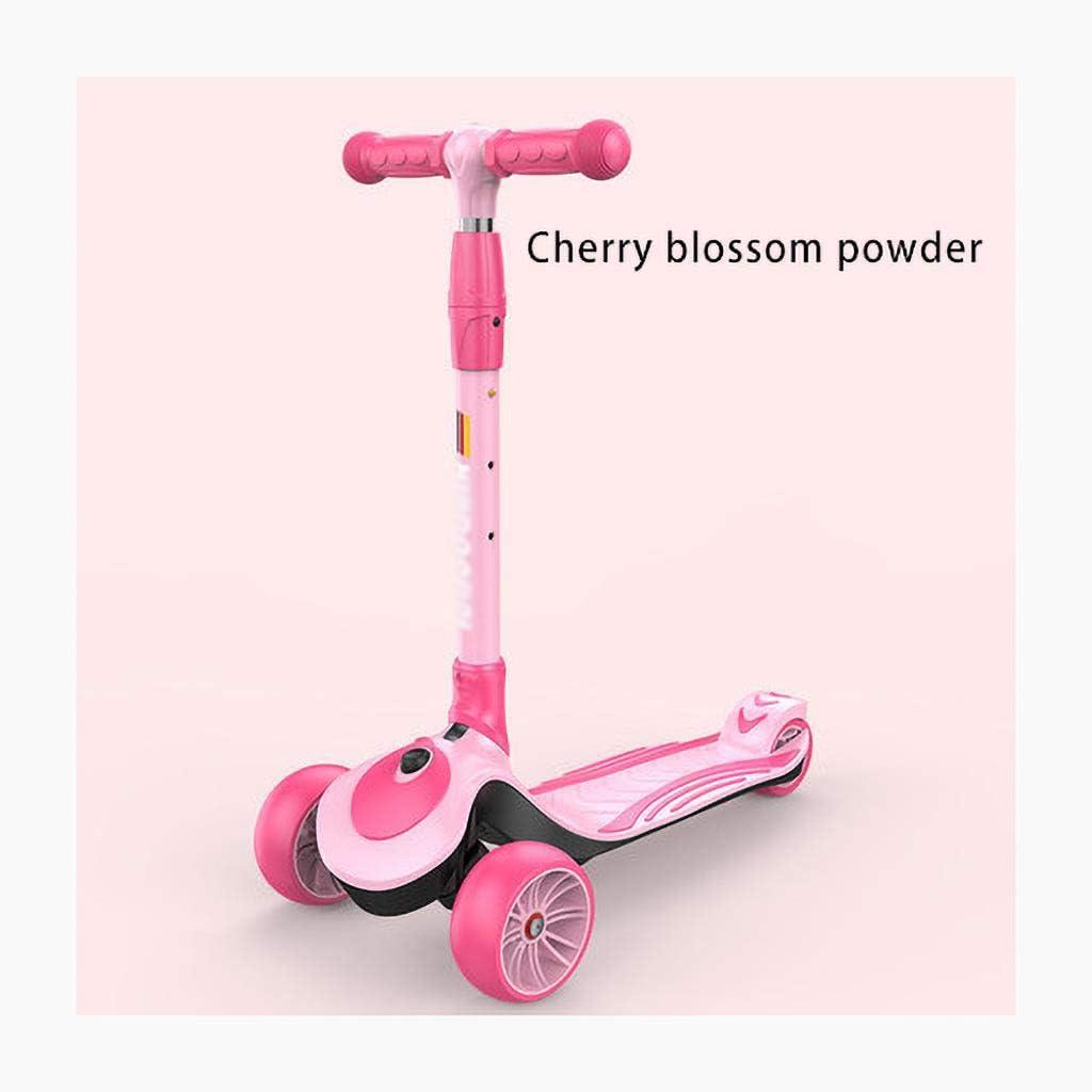 Scooter pour Enfants, Adapté Aux Enfants Garçons Âgés de 2 a 12 Ans, Hauteur Réglable et Scooter Pliable. Cherry Blossom Powder