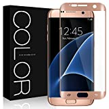 Galaxy S7 Edge Screen Protector, G-Color® [Full Cover] [Curved Fit] [Bubble-Free] [Scratch-proof] [HD Clear Plastic Film] [Not Glass] Screen Protector For Samsung Galaxy S7 Edge (Rose Gold)