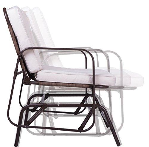 Merax Outdoor Bench Patio Glider Rocking Chair Garden Park Bench Loveseat Antique Bronze
