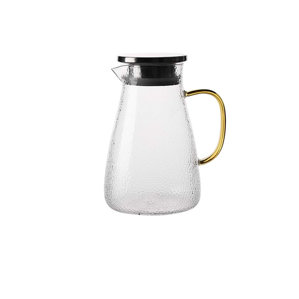 Kettle hammer pattern transparent glass large capacity teapot heat-resistant cold kettle home cool open kettle CHAJU (Size : 1.5l) by CHAJU