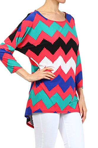 (Plus Size) Chevron Striped Knit Tunic Dolman leeves Blouse (MADE IN U.S.A)