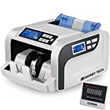 Money Tech Professional Polymer & Paper Multi-Currency Bill Cash Counter. Canadian Plastic & USD Banknote Counting Machine with Counterfeit Detection and LCD Screens.