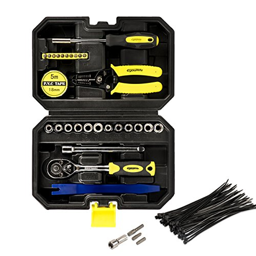 Eyourlife Top & Door Removal Tool Kit for Jeep Wrangler - Mechanics Tool Case w/ Torx Screwdriver Set with Ratchet Handle,Socket Set,Wire Stripper,Car Trim Removal Kit 82214166AB ()