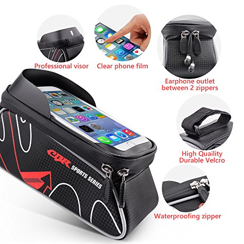 Beusoft Bike Bag Road Mountain Bike Top Tube Front Frame Bag with Waterproof Touch Screen Phone Case for iPhone X 8 7 6s 6 plus 5s 5/Samsung Galaxy s7 s6 note 7 Cellphone Below 6.3 Inch by Beusoft (Image #2)