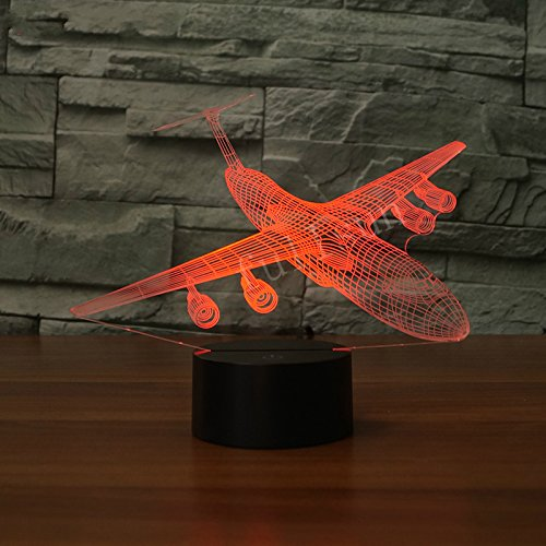 Voorpret 3D Illusion Airplane Night Light 7 Colors Changing Lamp Gift for Kids Lover Home Decorations Birthday Bedroom