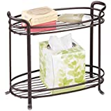 mDesign Free Standing Bathroom Storage Shelf for Towels, Soap, Accessories - 2 Tiers, Bronze