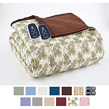 Image of Home and Kitchen Thermee Micro Flannel Electric Blanket, Pinecone, Twin