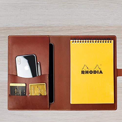Leather Journal Cover for Steno Pad or Rhodia Pad A5 / Wickett & Craig Full Grain Leather/Handmade in USA/Fits iPad mini and 6x9 Pad