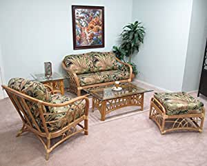 rattan living room furniture 5pc set loveseat chair