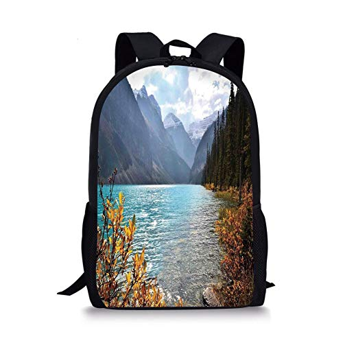 School Bags Landscape,Lake Louise Banff National Park Canada Mountains Autumn Plants,Light Blue and Earth Yellow for Boys&Girls Mens Sport Daypack]()