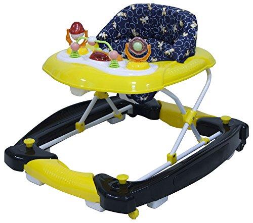 Big Oshi 3 in 1 Baby Walker, Rocker & Activity Center on Wheels - Convertible Walker to Rocker with Tray Table Baby Activity Center with Toys - Adjustable Seat, Boys - Black/Yellow/Bear Print
