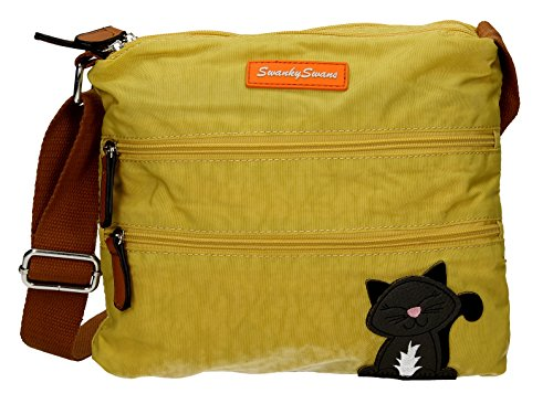 SwankySwans - Riley Cat Designer, Borsa a tracolla Donna Mustard