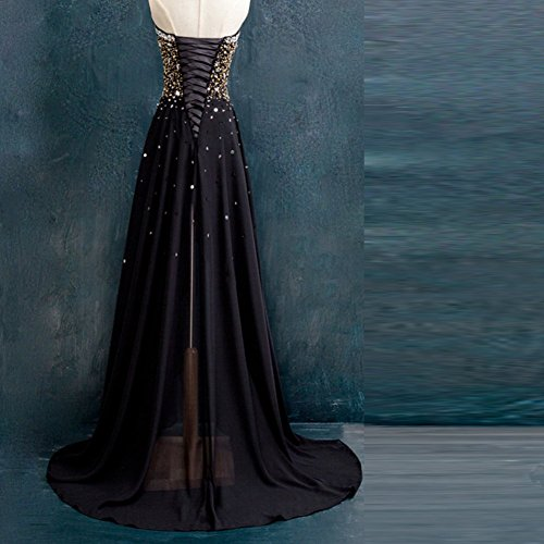 Kivary Black and Gold Beaded High Low Chiffon Formal Prom Dresses Evening  Gowns Plus Size US 22W