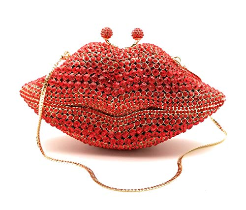 Crystal Designer Clutch Elegant Evening Handbag, Fancy Jeweled and Sparkly! (Red and Gold Lips)