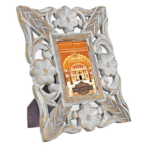 (Indian Heritage Wooden Photo Frame 4x6 MDF Cutwork Design in Gray Distress Finish)