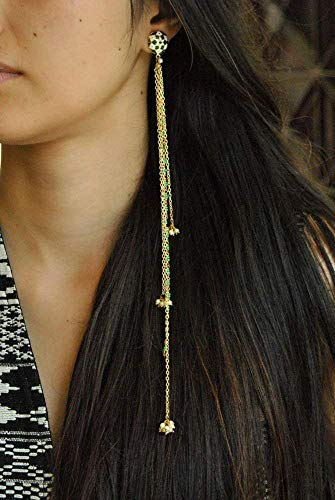 (Abhika Creations Women's Green Shoulder Duster Hand-made Earrings With Sleek Chain, Traditional Handmade Indian Bollywood Style Designer Jewelry)