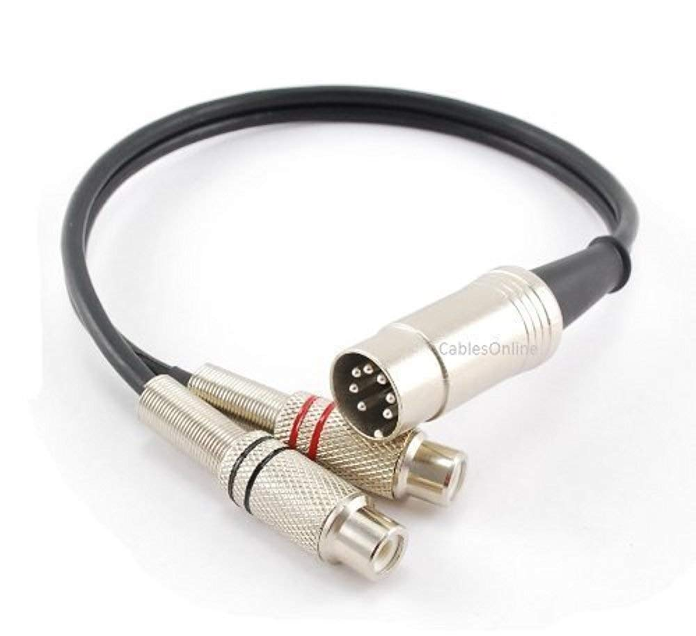 CablesOnline 1ft 7-Pin Din Male to 2-RCA Female Audio Cable for Bang & Olufsen, Naim, Quad.Stereo Systems (BO-402K)