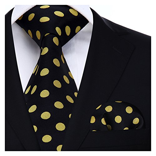(BIYINI Mens Tie Polka Dot Necktie and Pocket Square Set for Wedding Party)