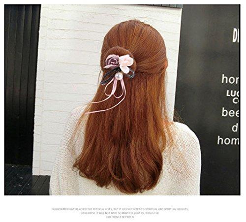 Sperrins Women Pearl French Bud Dish Hair Accessories Sweet Hairband Flower Donuts Headband Hair Bun Woman Hairstyle Tool (Wine Red) Navy Blue OTRbl