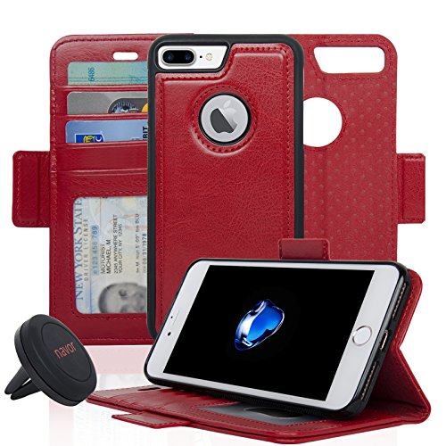 Navor Detachable Magnetic Wallet Case and Universal Car Mount Compatible for iPhone 7 Plus [RFID Protection] [Vajio Series]-Red