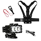SHOOT Outdoor Diving Light Accessories Kit for GoPro Hero 6/5/4/3+/3/5 Session/4 Session/HERO(2018)/Fusion AKASO DBPOWER Crosstour FITFORT Camera Sports Underwater LED Flashlight Chest Strap
